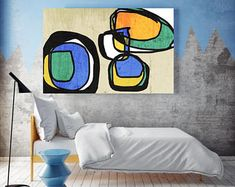 """Vibrant Colorful Abstract-64-3. Mid-Century Modern Green Blue Canvas Art Print, Mid Century Modern Canvas Art Print up to 72"""" by Irena Orlov"""