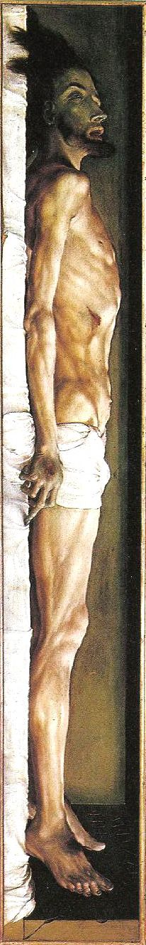 1520–22 The Body of the Dead Christ in the Tomb. Hans Holbein.  Llife-size.   oil and tempera on limewood. (detail shown vertically)