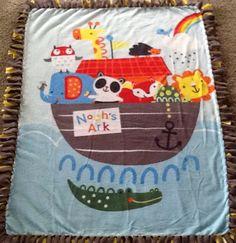 Noah's ark and animal friends  fleece tie blanket, nursery blanket, reversible  blanket. Shop here: https://www.etsy.com/listing/285583251/noahs-ark-and-animal-friends-fleece-tie?ref=shop_home_active_1 #blanket #noahsark