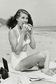 Rita Hayworth on the beach
