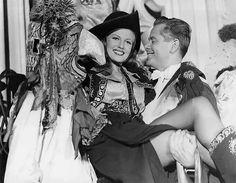 Rita Hayworth and Glenn Ford on the set of Gilda, 1946.
