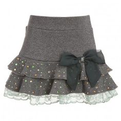 Grey Cotton Skirt With Lace Trim