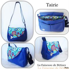 #besace #Tairie bleu roi et tissu coton imprimé fleuri #Couture Clutch Pattern, Hipster Bag, Diy Sac, Couture Sewing, Clutch Bag, Purses And Bags, Sewing Projects, Baby Shoes, Pouch