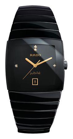 Rado Sintra Jubilé High-tech ceramics, sapphire crystal, black, with 4 diamonds, Quartz movement Fine Watches, Cool Watches, Watches For Men, Wrist Watches, Pic Code, 4 Diamonds, Rado, Beautiful Watches, Color Negra