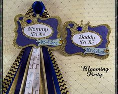 Prince Mommy To Be Corsage and Daddy To Be Baby Shower Corsages Prince Baby Shower Blue and Gold Baby Shower