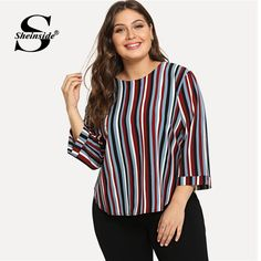 4d24d9a5f34da Sheinside Striped Plus Size Women Blouse Office Ladies Work Elegant Color  Block Long Sleeve Top 2018