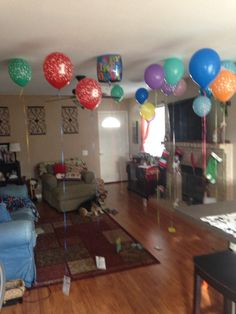 My son's 18th birthday. I bought 18 balloons and attached money, gift cards, candy, and lottery tickets. Also a voter registration and a article from the internet on what you can do at 18!