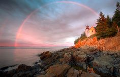 Double rainbow over the Bass Harbor Head Lighthouse, Maine (© Clarence Holmes Photography/Alamy) Harbor Lights, Somewhere Over, Above And Beyond, Over The Rainbow, Nature Pictures, Rainbow Colors, New England, Awesome, Amazing