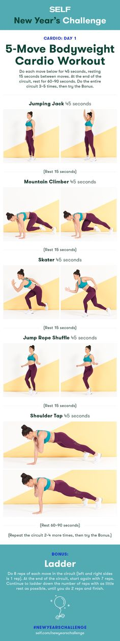 Welcome to our #NewYearsChallenge! Try this total body cardio workout for women with jumping jacks and mountain climbers!