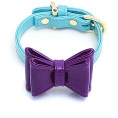 "Enamel Ribbon DOG Collar Bow Set ""CALIFORNIA SKY & OH SO PURPLE"""