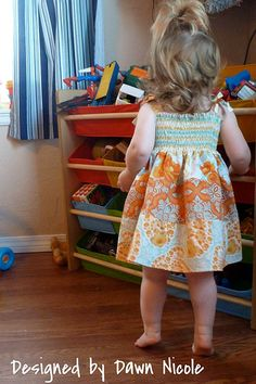 shirred sundress out of FQ's. sizes given for a 2T