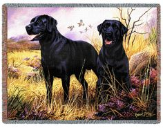 Black Labs Tapestry Throw - Western Decor - Cabin Decor