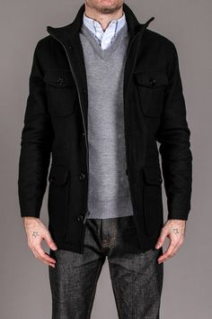 Kenneth Cole Melton Wool Zip Front Jacket