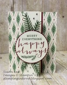 Stampin' Up! Suite Seasons, Pretty Pines Thinlits, Z fold card, http://stampinginferno.blogspot.com