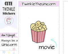 Check out A123 |  popcorn stickers,television stickers,film stickers,movie night stickers,netflix,planner stickers,functional stickers,live planner on twinkletheunicorn