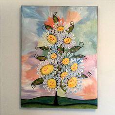 Daisy Tree original acrylic on canvas sparkling flower painting signed – Nettie Price Sparkling Art