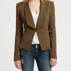 Rebecca Minkoff brown rebecca split back blazer Rebecca Minkoff olive green brown split back blazer, size 6 but it runs small, fits more like a 4. Gorgeous piece. New without tags. Will add measurements & better photos soon. No trades please ✌️ 15 shoulder to shoulder, 32 bust, 25 inch sleeve, 24.4 length, light padding in shoulder Rebecca Minkoff Jackets & Coats Blazers