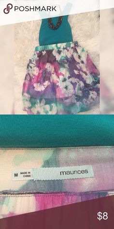 Hi-low skirt Maurices Skirt This is a flowy high waisted skirt, floral design of shades of purple and teal.  Perfect condition, bought at Maurices.  This is a high low skirt, the skirt gradually gets longer toward the back.  It is lined so that it isn't see through because the top layer is a thin chiffon.  Super lightweight and breezy for the summer! Maurices Skirts High Low