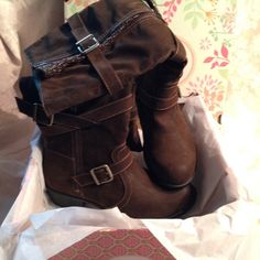 """""""Boot-y"""" licious Boots Brand new in box beautiful dark brown boots with sexy strap detailing along the outside. The straps are adjustable and there is a working zipper on each side. The outside zipper opens to a cute knitted fabric insert. Heel is 1 1/4 inches high and boot measures 15 1/2 inches tall. Beautiful!! Jellypops Shoes"""