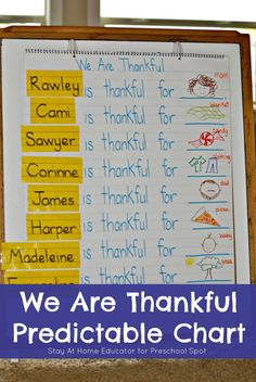 Thanksgiving Literacy Activity - Teach your child about how to show gratitude while learning important print awareness skills in this cute Thanksgiving predictable chart. Add this to your Thanksgiving preschool theme! Thanksgiving Preschool, Fall Preschool, Preschool Lessons, Kindergarten Literacy, Preschool Charts, Preschool Ideas, November Preschool Themes, Thanksgiving Ideas, Thanksgiving