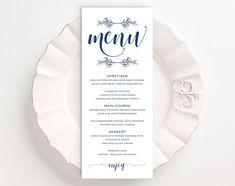 Navy Blue Printable Menu Card Template Editable Text Instant Thank You Printable, Printable Menu, Printables, Rustic Wedding Menu, Wedding Dinner Menu, Vow Renewal Invitations, Kraft Wedding Invitations, Menu Card Template, Wedding Menu Template