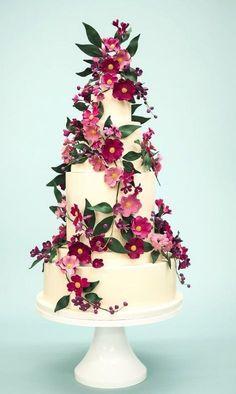 Featured Cake: Rosalind Miller Cakes; Wedding cake idea. #floralweddingcakes