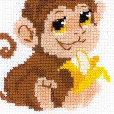 Набор для вышивания крестом для начинающих НВ161 Обезьянка от РИОЛИС  Cross stitch kit НВ161 Monkey by RIOLIS
