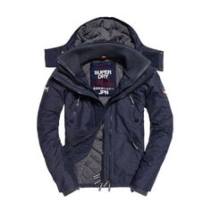 Superdry Hooded Wind Yachter Jacket ($100) ❤ liked on Polyvore featuring men's fashion, men's clothing, men's outerwear, men's jackets, navy, mens hooded jackets, mens navy quilted jacket, mens zip up jackets, old navy mens jackets and mens hooded windbreaker