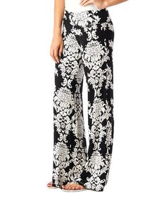 Look what I found on #zulily! Black Damask Palazzo Pants #zulilyfinds