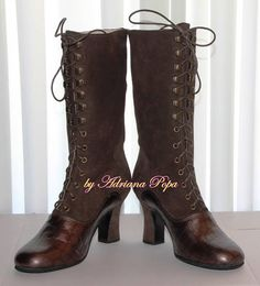 NEW Victorian Boots in 2 tone Brown leather Victorian Shoes in