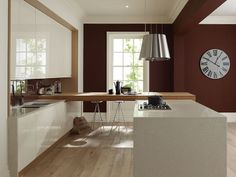 linear kitchen designs | Remo Linear Contemporary Gloss Kitchen in Alabaster
