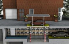 An example installation of an underground car parking lift.