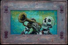 Day of the Dead Artist David Lozeau, El Trompetista, David Lozeau Dia de los Muertos Art - 4