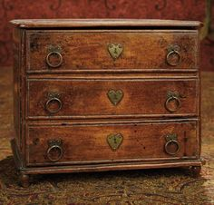 Very Fine Early Miniature Walnut Chest with Shaped Escutcheons 600/900 | Art, Antiques & Collectibles Toys & Hobbies Dolls | Auctions Online | Proxibid