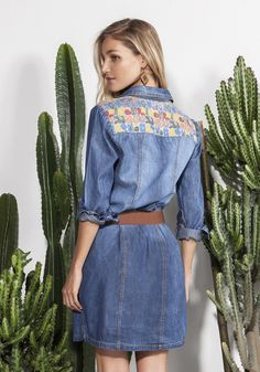Chemisier jeans com recorte + bolsos jacquard - Vestidos