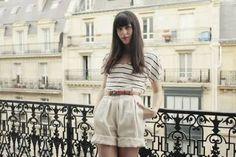 #Parisienne#Stripes#high waist short pants