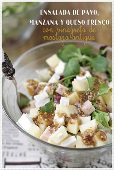 Ensalada de pavo, manzana y queso fresco con vinagreta de mostaza antigua {by Paula, Con las Zarpas en la Masa}