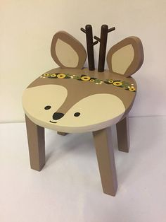 Woodland animal stool | Reindeer Deer hand painted wood kids chair | Children's furniture | Boho Tribal nursery