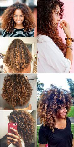 Crespos e coloridos Natural Afro Hairstyles, Curled Hairstyles, Natural Hair Styles, Long Hair Styles, Curly Afro Hair, Ombré Hair, Hair Romance, Honey Hair, Textured Hair
