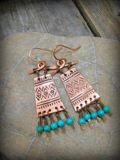 Tribal Earrings, Turquoise Earrings, Native American Design Jewelry, Bohemian Earrings, by StoneWearDesigns