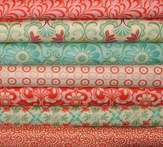 So pretty! Pile of fabric coral red aqua