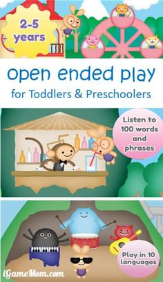 Open ended play for toddlers and preschoolers, kids explore and play at their own pace, and in the meantime learn over 100 words and short phrases. A fun app for young children.