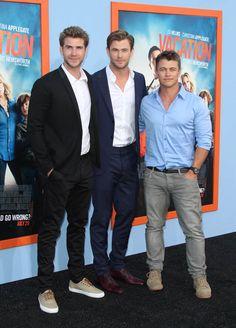 Chris Hemsworth, Liam Hemsworth, and Luke Hemsworth at Hollywood premiere of Vacation, July 27, 2015