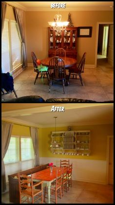 Paint, wainscoting, barn light, church pew, farmhouse table & cupboards. All done by yours truly.