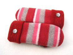 Felted Wool Sweater Mittens Fleece Lined Candy by CristinesMittens
