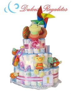 Tarta de pañales Alegre Rosa 3 plantas  La más divertida y colorida. Una preciosa tarta tanto para niño como para niña.  Solo 65€