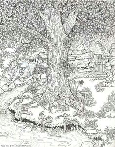 Fairy tree coloring page