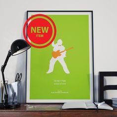 SCHOOL OF ROCK minimalist movie print, Jack Black as Dewey Finn, School Music Teacher, green orange poster print, teacher gift Rock Poster by thefilmfreak on Etsy