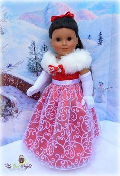 Christmas Holiday Gown fits your American Girl by upowlnightcrafting Includes gloves, shoes, and hair clip! Sewing Doll Clothes, American Doll Clothes, Girl Doll Clothes, Doll Clothes Patterns, Clothing Patterns, Doll Patterns, Dress Patterns, Barbie Clothes, Clothing Ideas