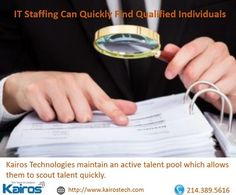Kairos Technologies maintain an active talent pool which allows them to scout talent quickly.  http://bit.ly/2EOJADK  #Itstaffing #Hr
